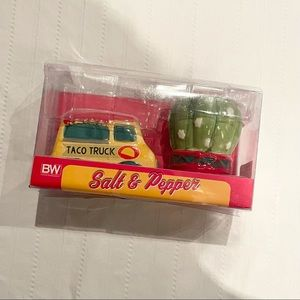 BE taco truck and cactus salt and paper shakers